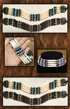 Bone Choker With Turquoise And Black Beads