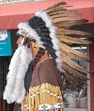 Brown Feathered And Beaded War Bonnet -WB048A  (OUT OF STOCK)