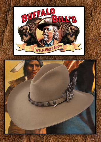 Stetson Buffalo Bill Show Stopper 4X Buffalo Fur Feathered Broken Bow Western Hat