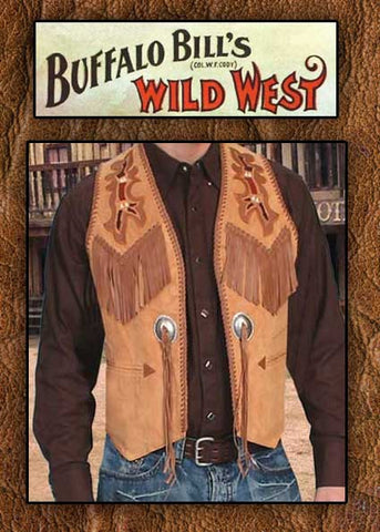 Buffalo Bill Style Show Stopper Scully Hand Laced Hand Tooled Fringed Western Two Tone Leather Vest