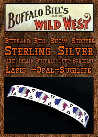 Buffalo Bill Show Stopper Sterling Silver Chip Inlaid Cuff Bracelet