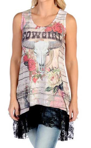 Women's Cowgirl Roses Tank Dress with Lace Hem- Made In The USA!
