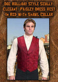 Doc Holiday  Style Elegant Old West Paisley Dress Vest With Shawl Collar