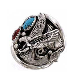 Navajo Crafted Sterling Silver Eagle Mens Ring With Turquoise And Red  Coral Stones