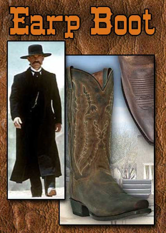 A Best Seller! Wyatt Earp Style Square Toe Bay  Apache Distressed Leather Cowboy Boot
