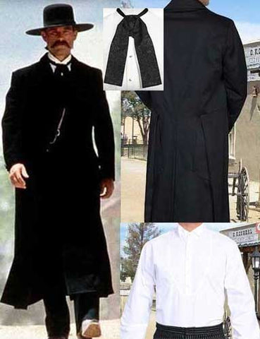 A Best Seller! Wyatt Earp Outfit - Frock Coat - Vest- Shirt- Tie - Trousers