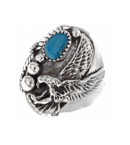 Best Seller! Navajo Crafted Indian Sterling Silver Eagle Mens Ring With Turquoise  Stone
