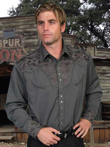Scully Legends Embroidered Gun Fighter Western Shirt  -Grey On Grey