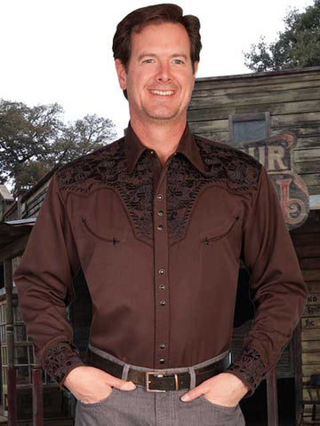 Scully Legends Embroidered Gun Fighter Western Shirt  - Brown On Brown