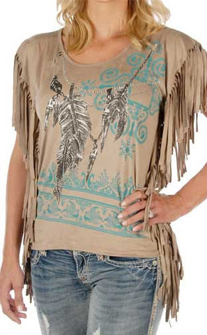 Native Style Faux Suede Fringe Hipster Feather Top