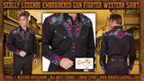 Scully Legends Embroidered Gun Fighter Western Shirt - Mutli-Color On Black