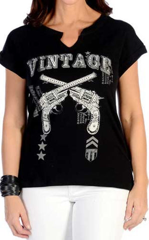 Liberty Wear Vintage Crossed Guns Top- Made In The USA!