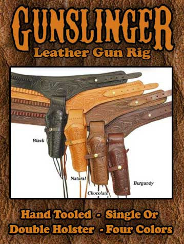 Best Seller! Old West Hand Tooled Single Holster Gun Rig