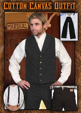 Scully Old West Wyatt Earp Style Notched Lapel Canvas Vest- Black
