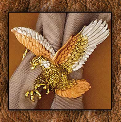 14Kt Gold Plated Eagle Tricolor Cowboy Scarf Slide