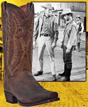 Gunsmoke Style Old West  Cowboy Boot - Bay Apache Distressed Leather