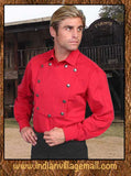 Wahmaker Scully Brushed Twill Cotton Bib Shirt - Red