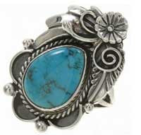 Bisbee Turquoise Silver Ladies Ring Navajo Pointer Finger Style