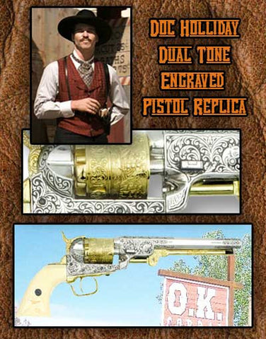 Doc Holiday 1851 Fancy Engraved Revolver Dual Tone Replica