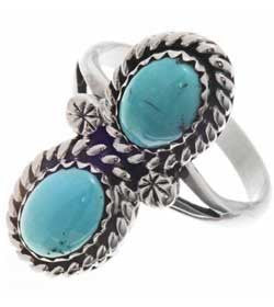 Best Seller! Two Stone Turquoise Sterling SilverLadies Ring -Navajo Made
