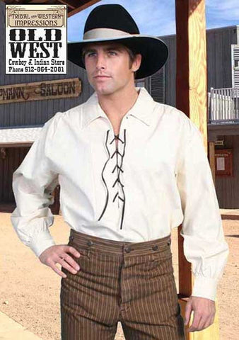 A Best Seller! Scully Old West Natural Lace-Up Shirt And Wahmaker Strip Old West Trousers