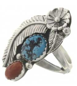 Best Seller! Natural Turquoise And  Coral Sterling Silver Ladies Ring -Navajo Made