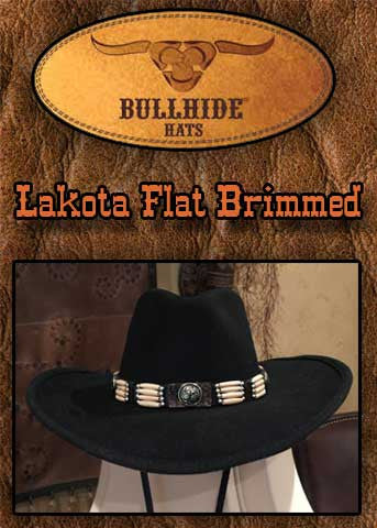 Lakota Flat Brimmed Bullhide Pinched Front Native Inspired Cowboy Hat