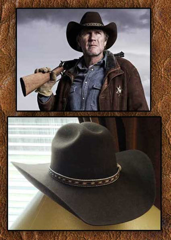 A Best Seller! Longmire Style 2X Cattleman Cowboy Hat - With Hand Woven Horsehair Slip - Knot Hat Band