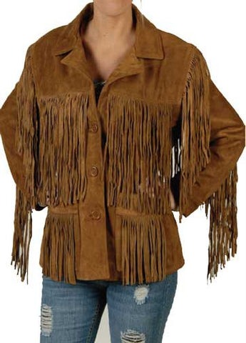 Texas Ladies' Cowhide Suede Extensive Fringe Jacket Color - Tobacco
