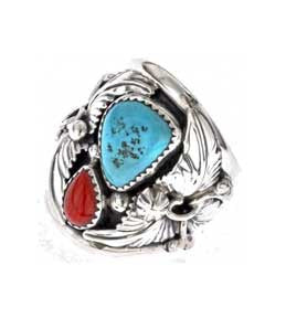 Best Seller! Traditional Navajo Crafted Large Turquoise And Red Coral Men's Ring