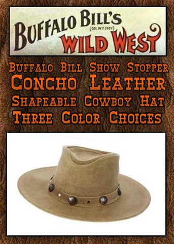 Buffalo Bill Show Stopper Wild West Minnetonka Buffalo Nickel Leather Hat