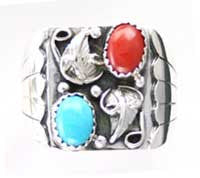 Navajo Crafted Turquoise And Red Coral Ring  - MR1168TCTB
