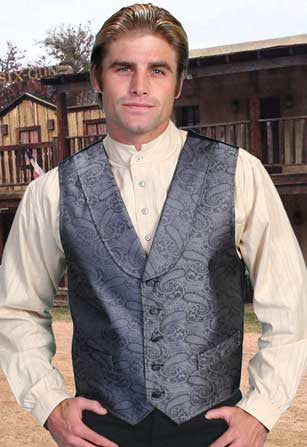 Elegant Old West Paisley Dress Vest With Shawl Collar- Grey
