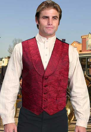 Elegant Old West Paisley Dress Vest With Shawl Collar- Red