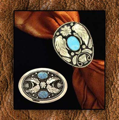 14Kt Gold Plate On German Silver Oval Turquoise  Stone Cowboy Scarf Slide - Matching Belt Buckle