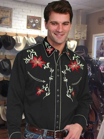Legends Scully Western Style Black Floral Embroidery Shirt