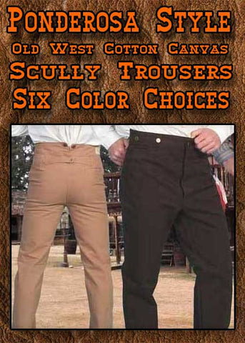 Ponderosa Style Scully Old West Cotton Canvas Pants