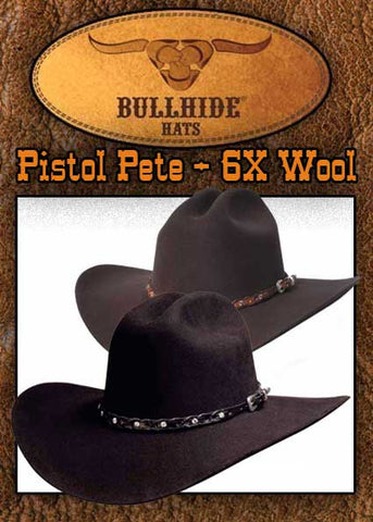 Gunsmoke Style Monetecarlo Pistol Pete 6X Wool Hat In Black Or  Chocolate -0397BH