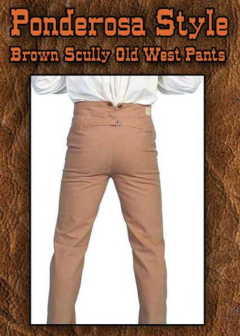 Old West Ponderosa Style Brown Canvas Trousers