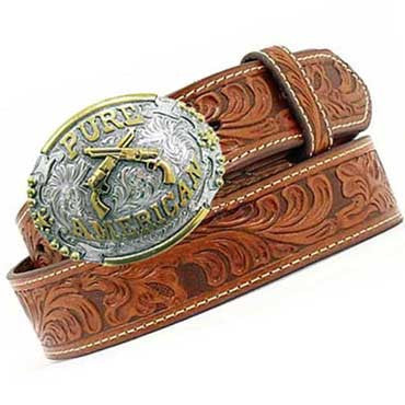A Best Seller And Exclusive! The Pure American Crossed Guns Hand Tooled Belt- Two Interchangeable Belt Buckles