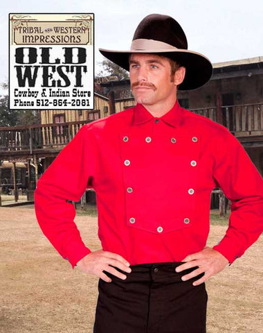 A Best Seller! John Wayne Three Piece Outfit - Red Bib Shirt- White Cowboy Scarf - Old West Trousers