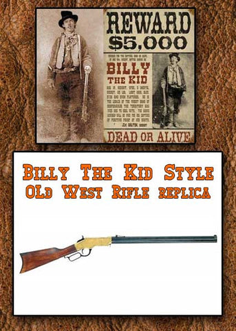 Billy The Kid Style Old West Brass Finish Replica Repeating Rifle Non-Firing Gun- 22-1030L