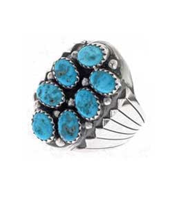 Best Seller! Navajo Crafted Large Seven Stone Turquoise Cluster Mens Ring