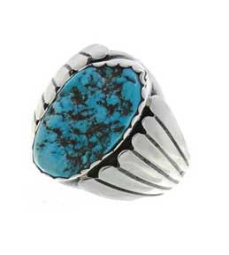 Best Seller! Turquoise Nugget Navajo Crafted Sterling Silver Large Mens Ring  -TSKU: 0104-14326-RG