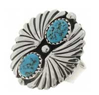 Natural Kingman Turquoise Ladies Ring Silver Fan Design