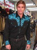 Scully Legends Embroidered Gun Fighter Western Shirt - Turquoise On Cream