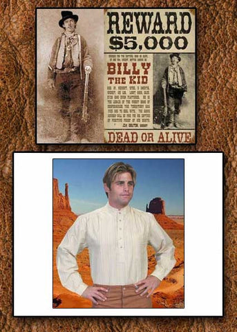Billy The Kid Style Scully Old West Lightweight Shirt -Three Color Choices