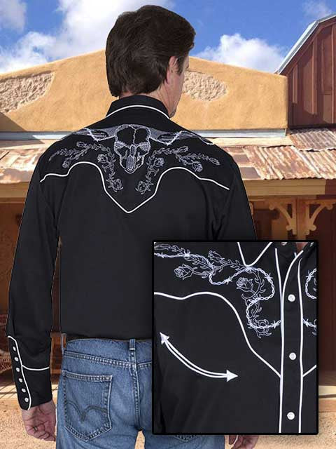 Scully Legends Embroidered Roses And Skull Shirt -Black