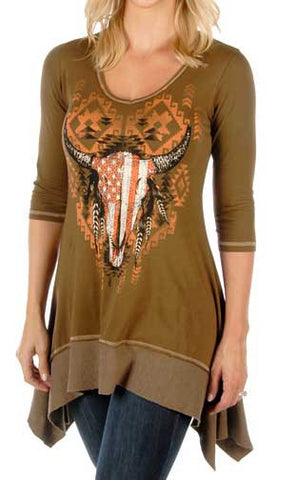 Ladies Tribal Skull Liberty Wear Mineral Washed Shark Tail Top - Mocha