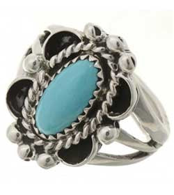 Sleeping Beauty Turquoise Ladies Ring Navajo Sterling Silver Design